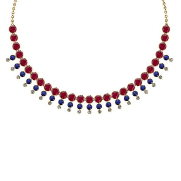 Certified 45.30 Ctw Ruby & Blue Sapphire And Diamond VS