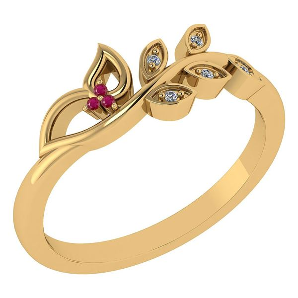 Certified 0.04 Ctw Ruby And Diamond 14k Yellow Gold