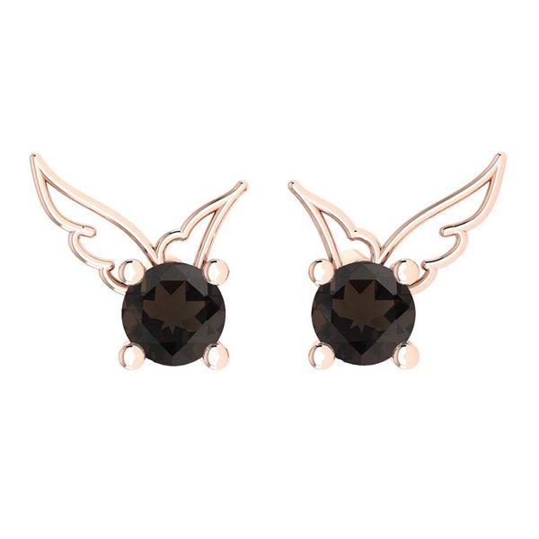 Certified 0.50 Ctw Smoky Quartz Stud Earrings 14K Gold