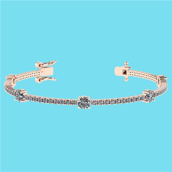 Certified 2.10 Ctw SI2/I1 Diamond 14K Rose Gold Bracele