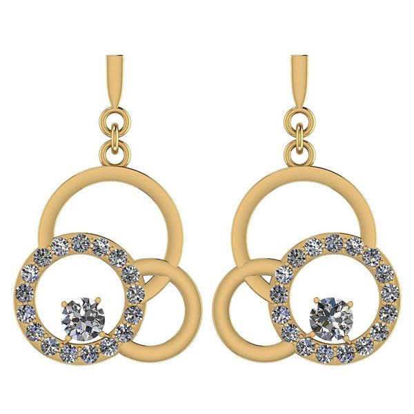 Certified 0.75 Ctw Diamond VS/SI1 Earrings 14K Yellow G