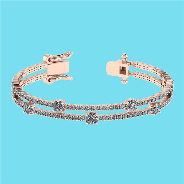 Certified 3.32 Ctw SI2/I1 Diamond 14K Rose Gold Bracele