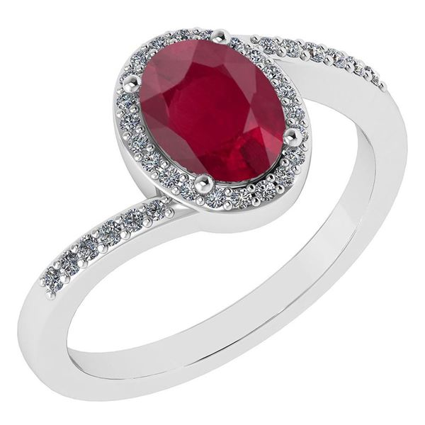 Certified 1.44 Ctw Ruby And Diamond 14k White Gold Halo