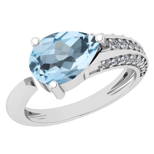 Certified 1.54 Ctw Blue Topaz And White Diamond VS/SI1