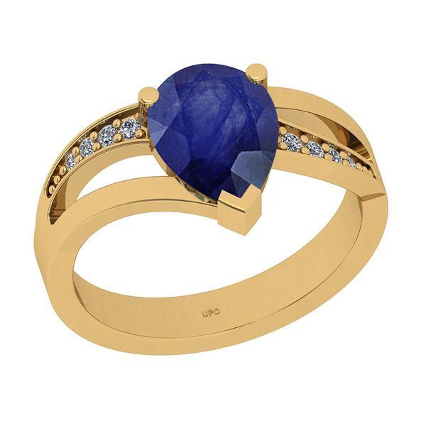 Certified 2.00 Ctw I2/I3 Blue Sapphire And Diamond 14K