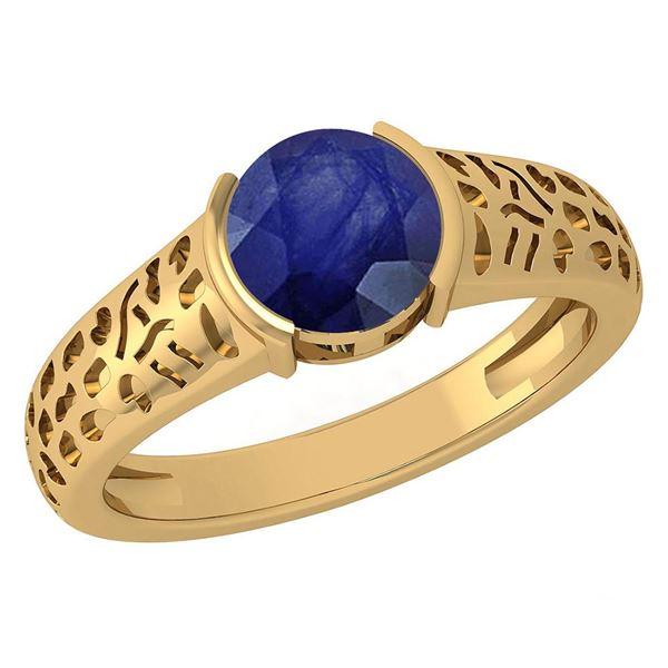 Certified 1.25 Ctw Blue Sapphire 14K Yellow Gold Solita