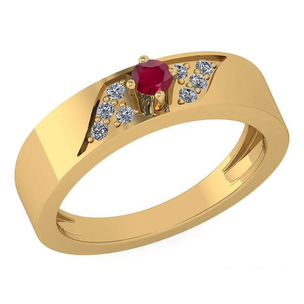 Certified 0.19 Ctw Ruby And Diamond 18K Yellow Gold Hal
