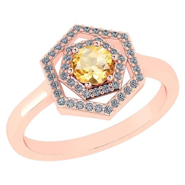 Certified 0.69 Ctw Citrine And Diamond 18K Rose Gold Ha