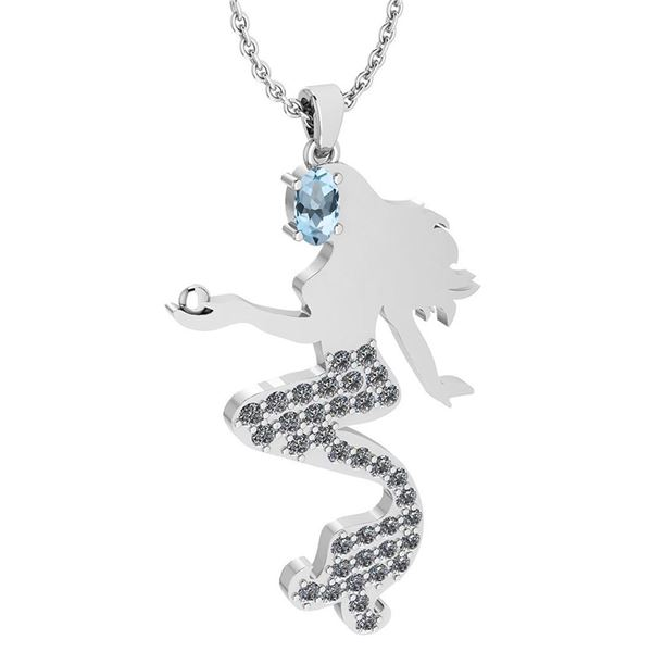 Certified 1.00 Ctw Aquamarine And Diamond Necklace For
