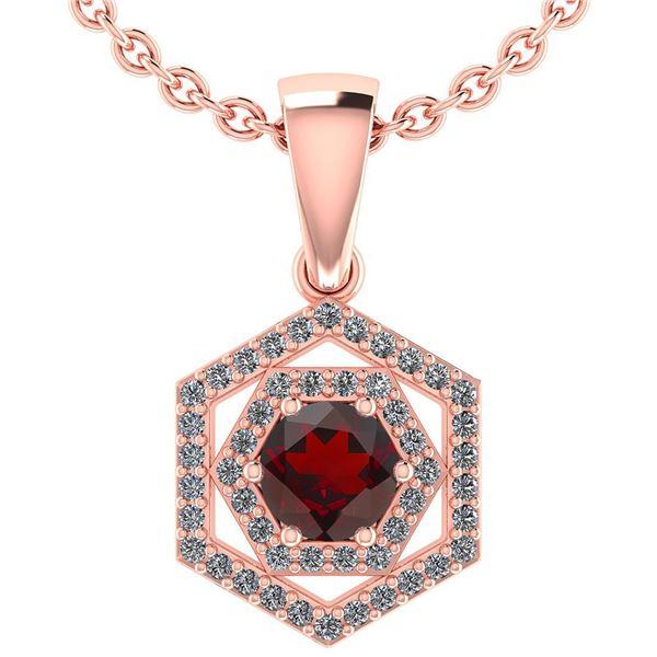 Certified 0.69 Ctw Garnet And Diamond 14k Rose Gold Hlo