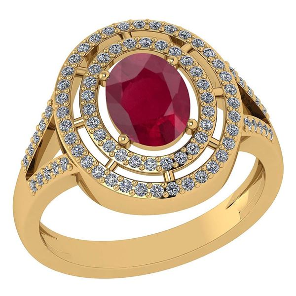 Certified 1.66 Ctw Ruby And Diamond 14k Yellow Gold Hal