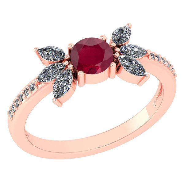 Certified 1.11 Ctw Ruby And Diamond 14k Rose Gold Halo