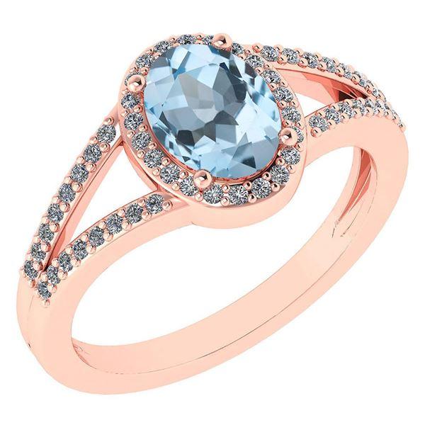 Certified 1.52 Ctw Aquamarine And Diamond 14k Rose Gold