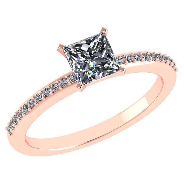 Certified 0.86 Ctw Diamond 18k Rose Halo Gold Ring