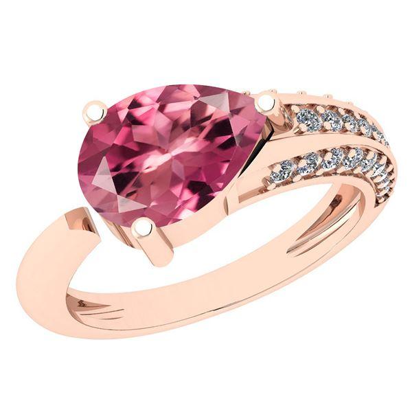 Certified 1.54 Ctw Pink Tourmaline And Diamond VS/SI1 H