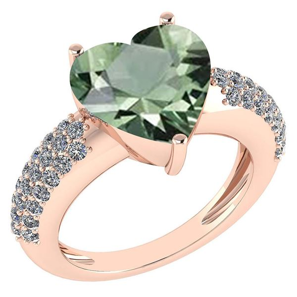 Certified 5.31 Ctw Green Amethyst And Diamond VS/SI1 Ri