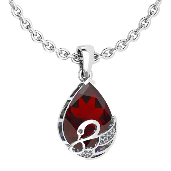 Certified 7.40 Ctw Garnet And Diamond VS/SI1 Necklace 1