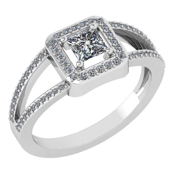 Certified 0.61 Ctw Diamond 18k White Halo Gold Ring