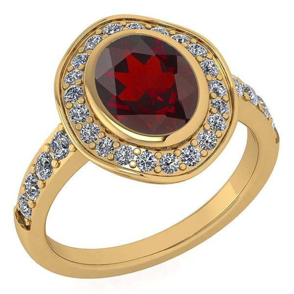 Certified 2.55 Ctw Garnet And Diamond VS/SI1 Halo Ring