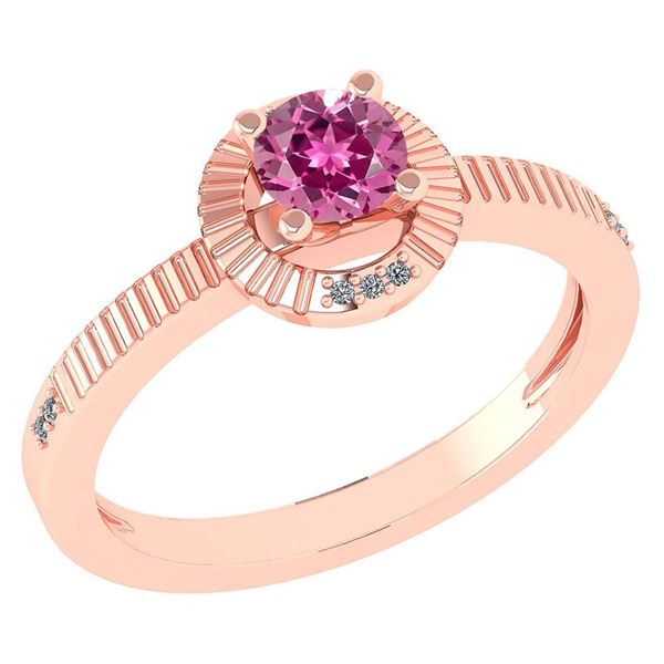 Certified 0.37 CTW Pink Tourmaline And Diamond 14k Rose