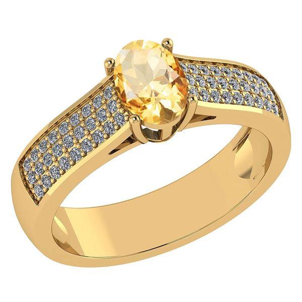 Certified 1.2Ctw Citrine And Diamond 14k Yellow Gold Ha