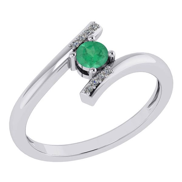Certified 0.27 Ctw Emerald And Diamond 14k White Gold H