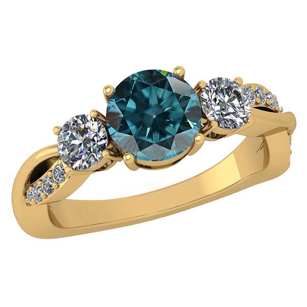Certified 1.86 Ctw Treated Fancy Blue Diamond SI1/SI2 A