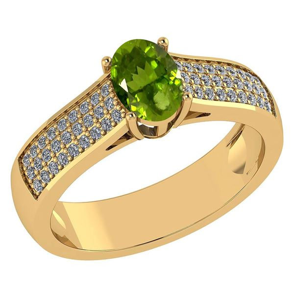 Certified 1.2Ctw Peridot And Diamond 14k Yellow Gold Ha