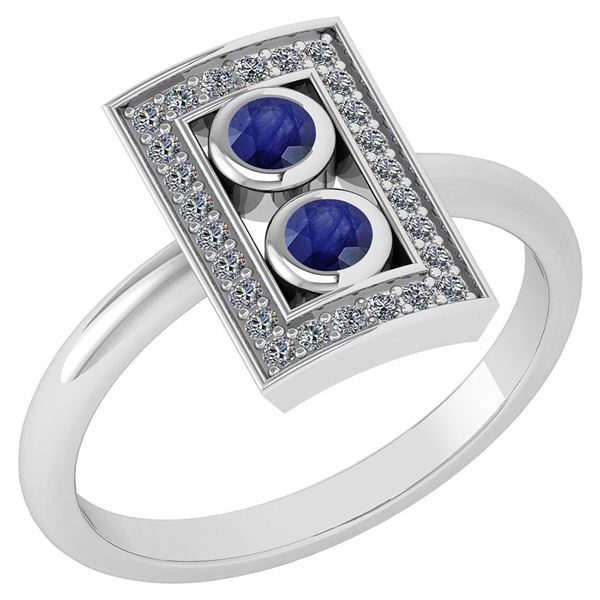 Certified 0.31 Ctw Blue Sapphire And Diamond 14k White