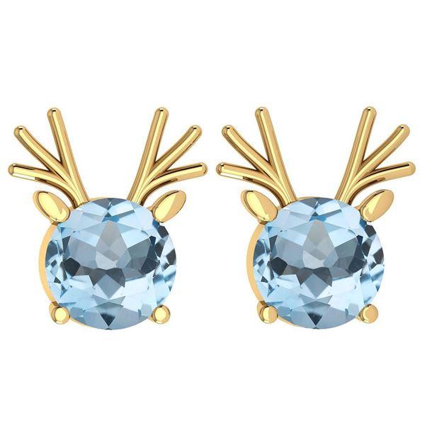 Certified 12.00 Ctw Blue Topaz Stud Earrings 14K Gold Y