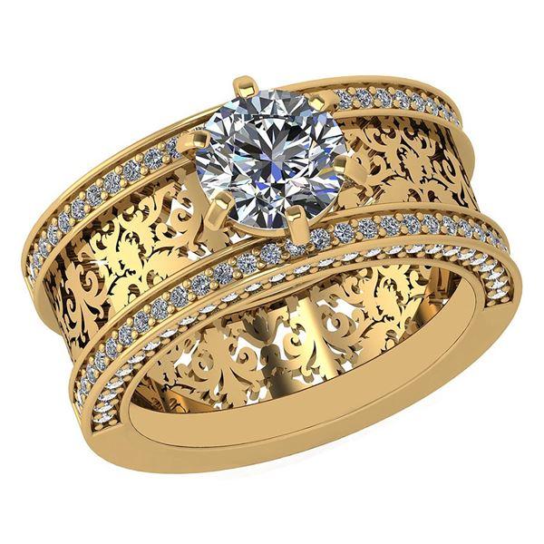 Certified 0.70 Ctw Diamond 14K White Gold Halo Ring