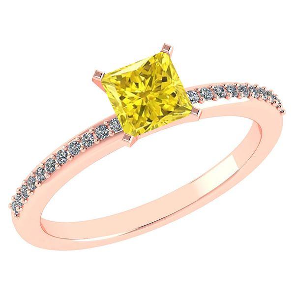 Certified 0.86 Ctw Fancy Yellow Diamond And Diamond 18k