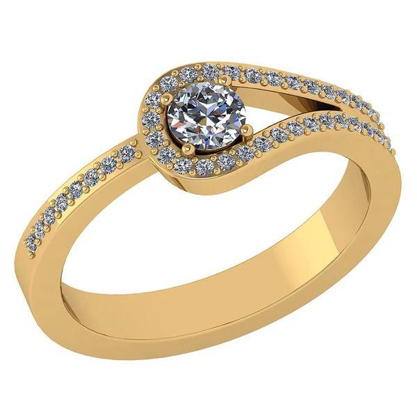 1.30 Ctw Diamond 14k Yellow Gold Halo Ring