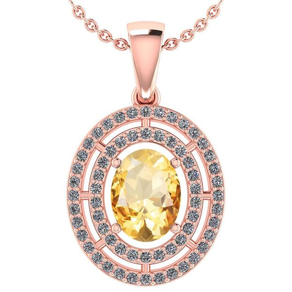 Certified 1.56 CTW Citrine And Diamond 14k Rose Gold Ha