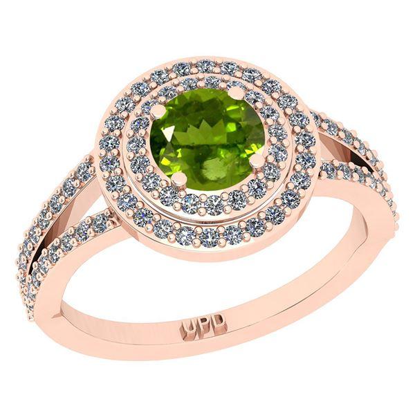 Certified 1.14 Ctw I2/I3 Peridot And Diamond 10K Rose G