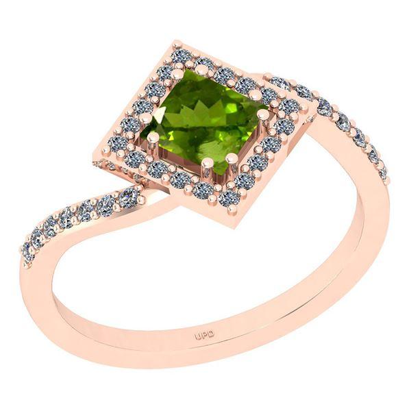 Certified 1.02 Ctw I2/I3 Peridot And Diamond 10K Rose G
