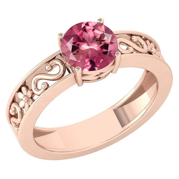 Certified 1.25 Ctw Pink Tourmaline Solitaire Ring with