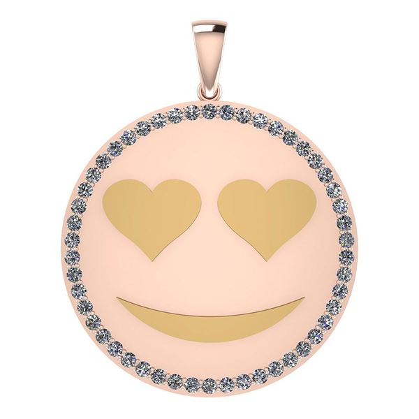 Certified 0.90 Ctw Diamond Smiley 18K Rose Gold Pendant