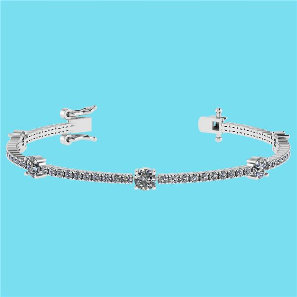Certified 2.10 Ctw SI2/I1 Diamond 14K White Gold Bracel