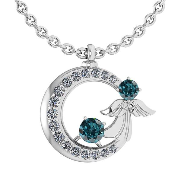Certified 1.14 CtwTreated Fancy Blue Diamond And White