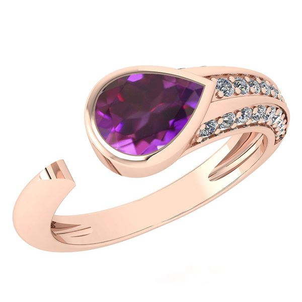 Certified 1.54 Ctw Amethyst And Diamond VS/SI1 Ring 14K