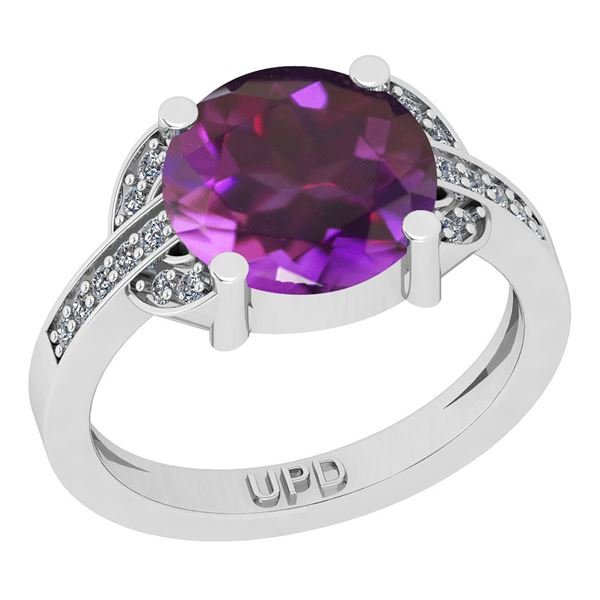 Certified 2.75 Ctw I2/I3 Amethyst And Diamond 10K White