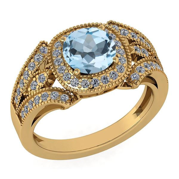 Certified 1.58 Ctw Aquamrine And Diamond Wedding/Engage