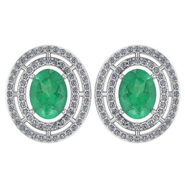 Certified 3.12 Ctw Emerald And Diamond 18K White Gold H