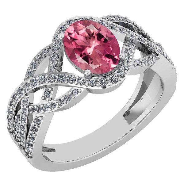 Certified 1.79 Ctw Pink Tourmaline And Diamond VS/SI1 R