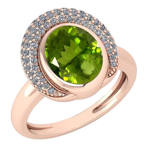 Certified 2.82 Ctw Peridot And Diamond VS/SI1 Halo Ring