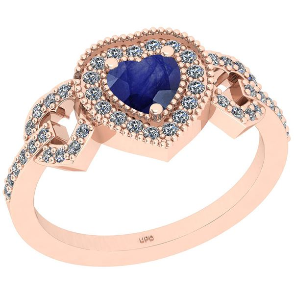Certified 0.82 Ctw SI2/I1 Blue Sapphire And Diamond 14K