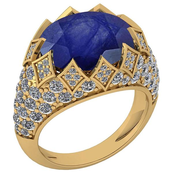 Certified 7.81 Ctw Blue Sapphire And Diamond VS/SI1 Uni