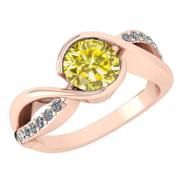 Certified 1.44 Ctw Treated Fancy Yellow Diamond And Whi