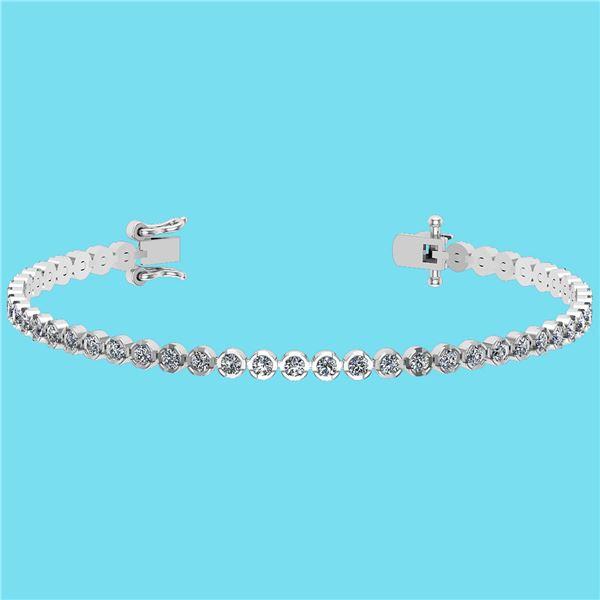 Certified 2.60 Ctw SI2/I1 Diamond 14K White Gold Bracel